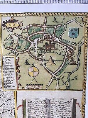 Old Antique Tudor map Huntingdonshire, Ely, England: John Speed 1600's Reprint 4