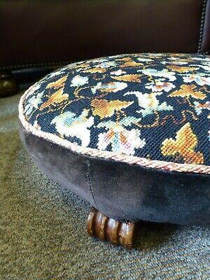 Vintage Elizabeth Bradley Persian embroidery tapestry footstool wood feet 5