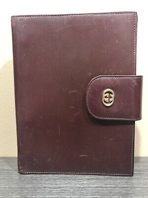 GUCCI Vintage Gold GG Logo Agenda Day Planner Binder Cover Leather Italy 2