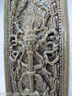 Antique Door Push Plate ornate flame torch ribbons bows floral old brass bronze 7
