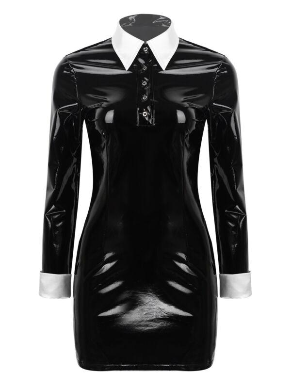 Damen Wetlook Leder-Optik Kleid Gothic Langarm Minikleid Halloween Paty Kostüm 8