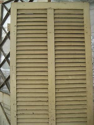 "SOLID - circa 1890 VICTORIAN shutter screen door w louvers 77.5"" x 30"" x 1.25"" 2"