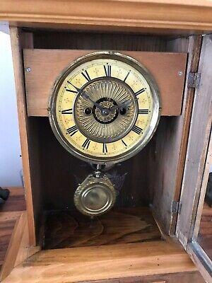 Rare Antique Wurttemburg German Beech Cased Mantle Bracket Clock 3