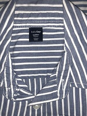 Baby Gap Boys Nautical White Blue Striped Button Down Shirt 5 Years SELLING TONS 2