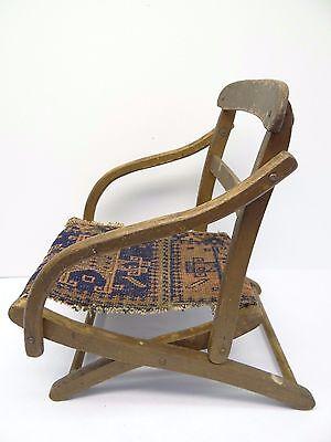 Antique Wood Wooden Blue & Red Oriental Prayer Rug Seat Kids Childrens Chair 5