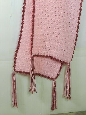 """Hand Knitted Acrylic Afghan Baby Throw Blanket Fringe Pink 16.5"""" x 87"""" 4"""