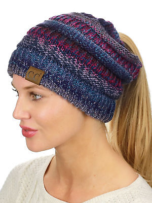 30436855aa5 3 3 of 9 CC Ponytail Beanie Hat Soft Stretch Cable Knit High Bun Ponytail  C.C Beanie! 4