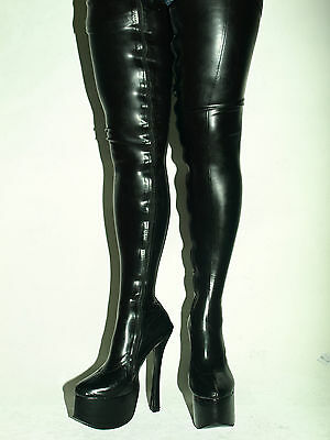 FS1086 BALLET BLACK OR RED LEATHER IMITATION HIGH BOOTS SIZE 9-16 HEEL-8,4/'