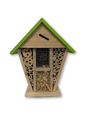 Insect Wooden Hotel Nest Home Bee Keeping Bug Ladybird Garden Pollination Box 9