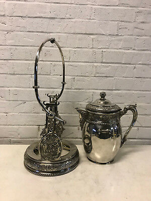 Antique Middletown Plate Co. Aesthetic Movement Silver Plated Tilt Water Pitcher 8