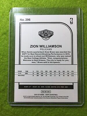 ZION WILLIAMSON ROOKIE CARD JERSEY #1 PELICANS RC 2019-20 Panini HOOPS rookie rc 12