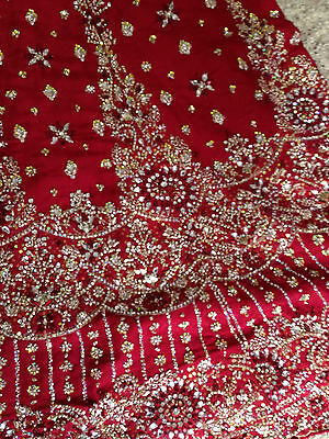 lovely maroon red bridal lengha - indian - bollywood new with tags size 12 - 16 3
