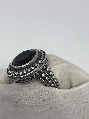 Vintage Genuine Brown Smoky Topaz 925 Sterling Silver Deco Size 7 Ring 5