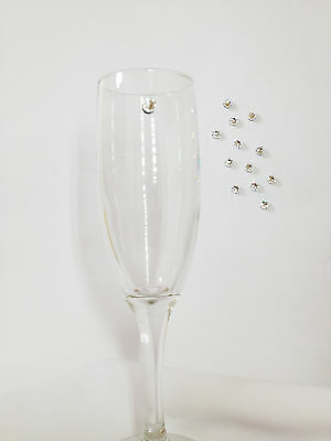 Wine Charm Champagne Glass Crystal Element Magnet Markers - Set of 6