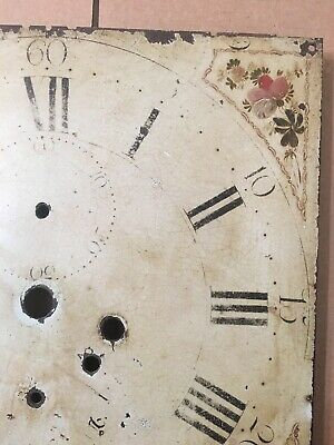 Antique Hand Painted Flower Decorated Iron Grandfather Clock Dial C. 1800's 4