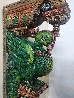 Wooden Bracket Temple Corbel Pair Peacock Parrot Architectural Bird Wall bracket 8