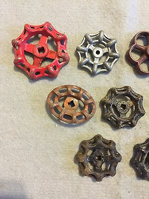 Lot Of 9 Vintage Heavy Metal Water Faucet Handles Knobs Valves Steampunk Lot #31 3