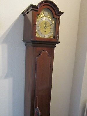 Edwardian period three train weight driven 1/4 striking grandmother clock. 3