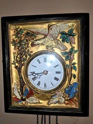 Black Forest French German Eagle picture frame swinger clock Gilded Gold 2