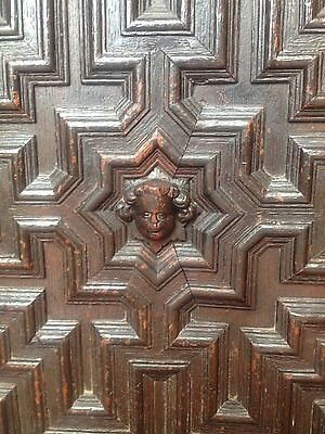 17th Century Carved Oak Library Bookcase Flemish Lion Head Pussy Oak Angels Pray 11