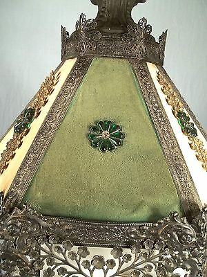 A WONDERFUL EARLY 20th CENTURY 6 SIDED PIERCED TIN FLORAL DECORATED CHANDELIER 5