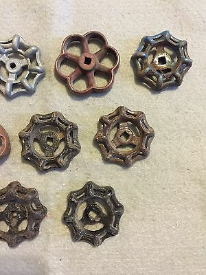 Lot Of 9 Vintage Heavy Metal Water Faucet Handles Knobs Valves Steampunk Lot #31 4