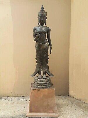 ANTIQUE BRONZE STATUE OF A FEMALE DEVATA, AYUTTHAYA. KHMER INFLUENCE. 19/20th C. 12