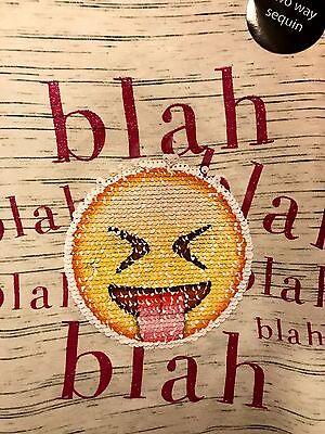 4d9ee490 ... Girls Ladies Smiley Face Blah Blah Emoji Brush Changing Sequins T Shirt  Primark 2