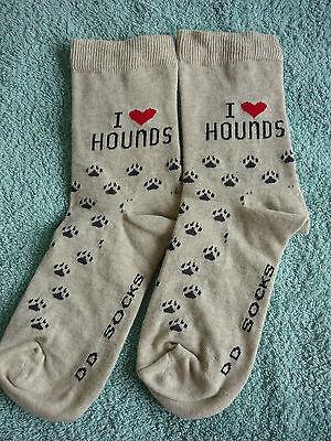 I Love HOUNDS Socks Beagle Bassett Bloodhound Greyhound Dachshund Wolfhound Elk 2