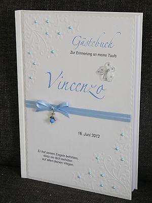 Gästebuch Taufe Kommunion Geschenk hellblau Geschenk Deko Taufbuch Konfirmation