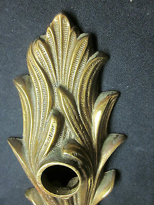 "Antique Vintage 14"" Brass French Hollywood Regency Feathered Door Knob Backplate 7"