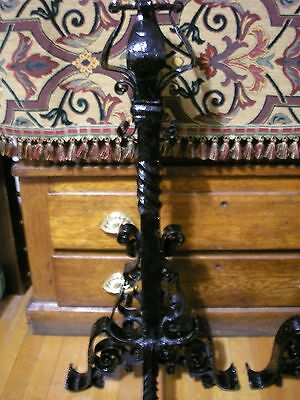 Monumental Pair of Antique Arts And Crafts Wrought Iron Andirons 5
