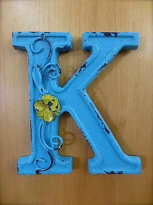 """BLUE CAST IRON WALL LETTER """"K"""" 6.5"""" TALL rustic vintage decor sign child nursery 2"""