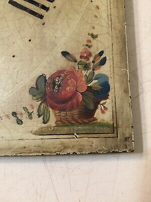 Antique Grandfather Clock Dial With Hand Painted Flowers In Vases & Baskets 4