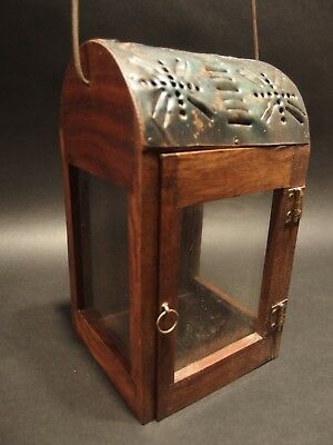 Antique Style Wood Punched Tin Glass Lantern Lamp Candle Holder 4
