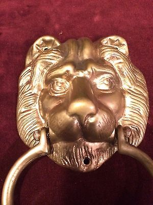 Vintage Brass DOOR KNOCKER Lion's Head 6
