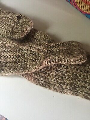 Vtg 80s Cream Brown Wool Hand Knitted Scarf Fingerless Gloves Novelty Onesize 4