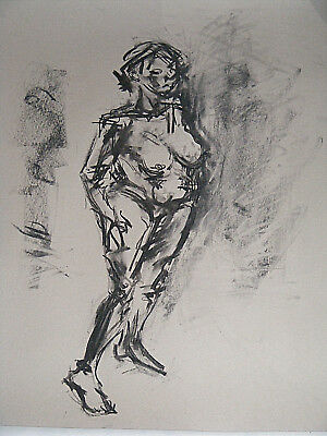 Figure life drawing nude expressive, charcoal / paper, woman standing, A1 size @ 8