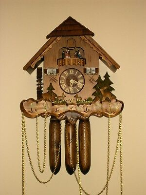 8 day Cuckoo Clock with music and Wooden Weights WORKING  AND SERVICED set of 1 10