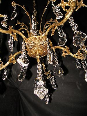 VTG DECO FRENCH CAST BRASS 32% LEAD CRYSTALS CHANDELIER CEILING FIXTURE 1950's 4