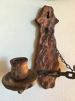 Antique Carved Wood & Metal Chain 2 Torch Style Candle Holder Wall Mount!!.🔥🕯 5