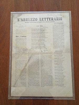 Italian Newspaper L'Abruzzo Letterario (20 Febbraio 1910) Rare & 100% Original 2