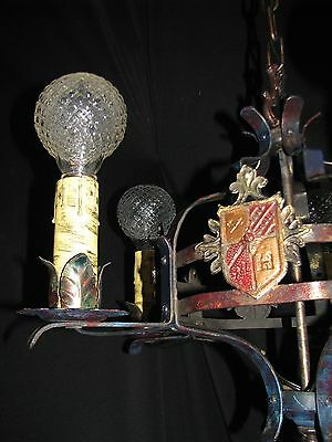 Vtg Gothic Revival Tudor Art Craft Deco Iron Chandelier Fixture 9