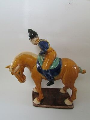 VTG Asian Tang Dynasty Horse & Rider Decorative Figure Statue 12.5""
