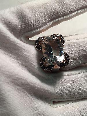 Vintage Genuine Clear Quartz Smoky Topaz 925 Sterling Silver Size 8 Ring 9