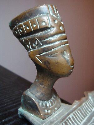 Ancient Egyptian Queen Nefertiti - Bronze bust on ashtray base 6