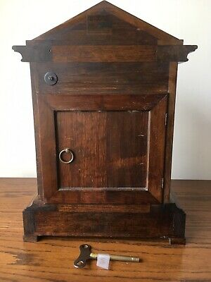 Antique Junghans Carved Oak Mantel Clock Westminster Chime Musical With Bracket 8