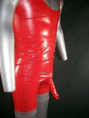 Red Fetish Bondage Rubber Latex Body Sheath 3350 Condom Gimp Gay Sexy Catsuit 5