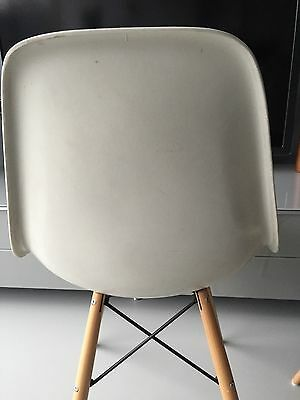 Vitra Original Charles Eames fibreglass upholstered chairs with dowel bases 5
