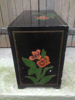 Black Lacquer Chinese 2 Drawer 2 Door Altar Table Oriental Cabinet Birds Flowers 9